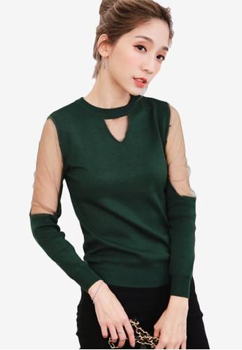 Sesura green In Thing Sheer Knit Top BCF4FAA931CB23GS_1