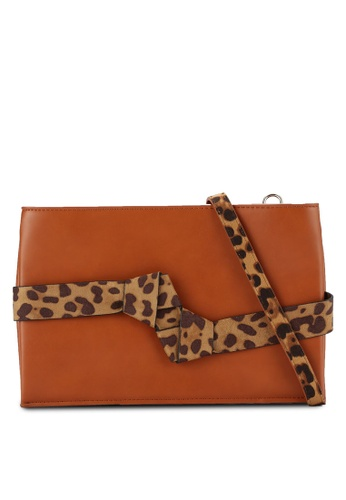 Nose brown Pu/Animal Print Clutch NO327AC0RCAIMY_1