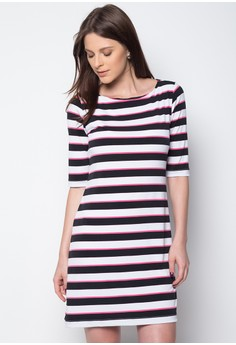 Elbow Sleeves Knit Shift Dress