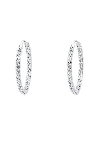 施華洛世奇水晶魅力圈 925 純銀耳環,esprit台灣網頁 飾品配件, 耳扣