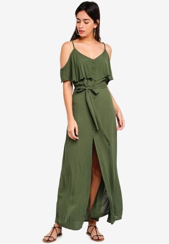 River Island green Bardot Maxi Dress 7B4B1AA379DA8BGS_1