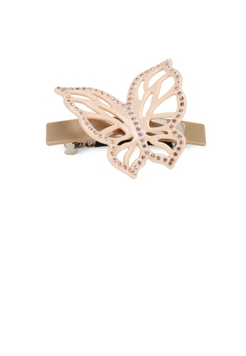 Glamorousky white Elegant Classic Gray Hollow Butterfly Hair Slide with Cubic Zirconia E0B25ACEEE87B8GS_1