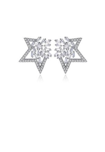 Glamorousky 白色 時尚璀璨星星耳釘配鋯石 E5A5AAC7B1BC6AGS_1
