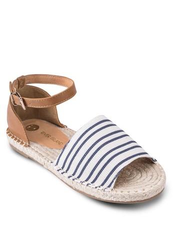 條紋露趾包esprit旗艦店跟繞踝涼鞋, 韓系時尚, 梳妝
