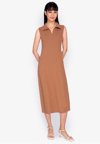 ZALORA BASICS beige Rib Zip Up Polo Dress 83361AA0E737FCGS_1