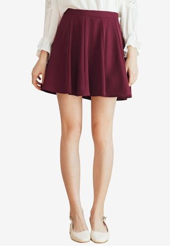 Tokichoi red Plain Skater Skirt FF4ABAA2E3AB67GS_1