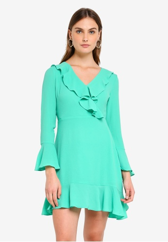 Glamorous green Ruffle Mini Dress 213B8AAAD88888GS_1
