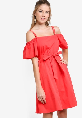 Something Borrowed red Cold Shoulder Self Tie Flare Dress 745E4AACA926ABGS_1