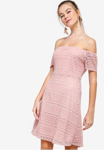 a36992791a02 Buy Something Borrowed Lace Off Shoulder Mini Dress Online on ZALORA ...