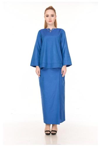 SET LAURA Kurung Kedah Royal Blue from Qaseh Sofea in Blue