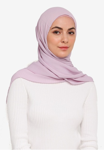 Hijabii purple Anya Textured Chiffon Scarf in Light Purple 278CEAA2F7E5B5GS_1