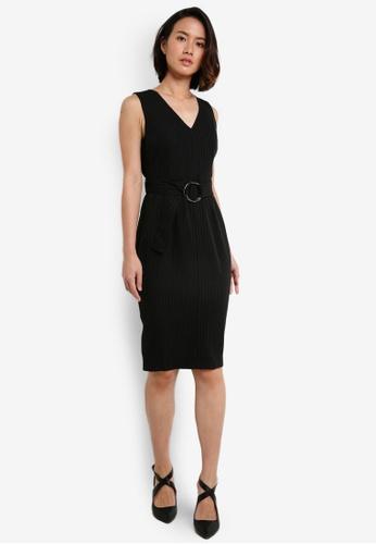 ZALORA black Sittch Detail V-Neck Tailored Dress E2ABBAA894A687GS_1