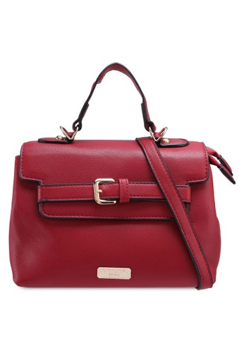 Unisa red Pebbled Texture Convertible Satchel Bag 13EC7AC38BCD1CGS_1