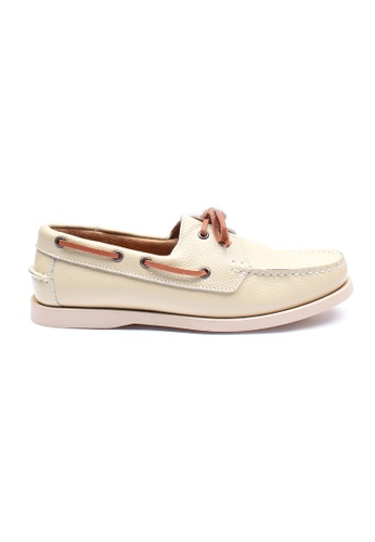 Moley white Genuine Leather Classic Boat Shoe MO329SH02EIBSG_1