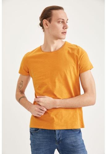 DeFacto yellow Man Knitted T-Shirt D4C1CAAA10CBE1GS_1