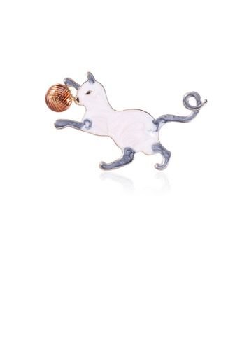 Glamorousky silver Simple and Cute White Cat Fur Ball Brooch 6B43CAC778A96FGS_1