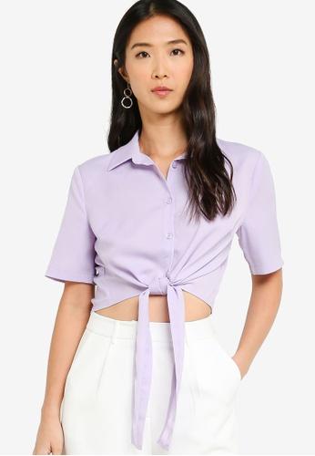 ZALORA BASICS 紫色 前綁帶襯衫 03004AA1FA3387GS_1