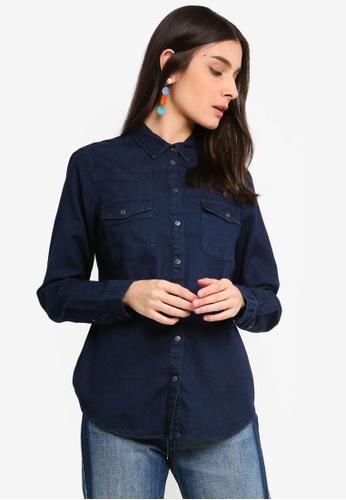 OVS blue Cotton Shirt With Pockets 740E5AA75824E9GS_1