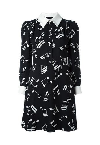 SAINT LAURENT black Saint Laurent Music Note Printed Jumper Dress in Black 430EDAA9C46193GS_1