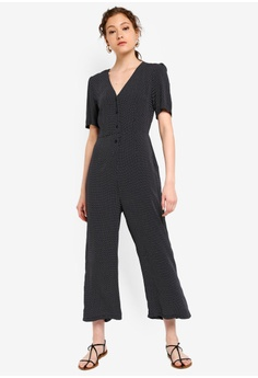 e9018946cfd16 ZALORA BASICS multi and navy Basic V-Neck Buttoned Front Jumpsuit  A8BA6AA7CE0AA0GS_1