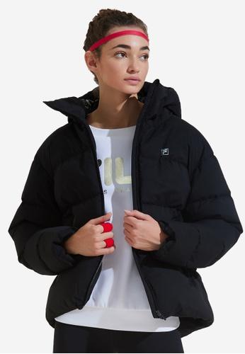 FILA black F-box Logo Hooded Down Jacket AA921AAECC171BGS_1
