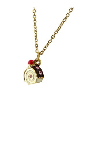 Glamorousky pink Glistering Roll Cake Pendant with Pink CZ and Necklace 9E6BAAC70DCFF7GS_1
