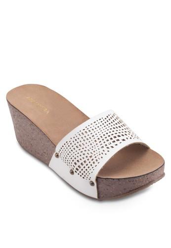 沖esprit 香港 outlet孔寬帶楔型涼鞋, 女鞋, 鞋