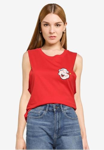 JACQUELINE DE YONG red Donna  Sleeveless Popeye Tank Top 51286AA5E429EEGS_1