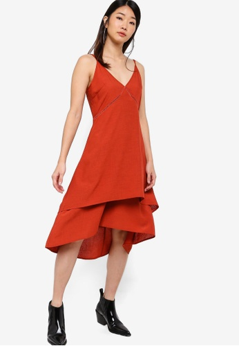 Something Borrowed red Double-Layer Flare Dress 2350FAA79BDF22GS_1