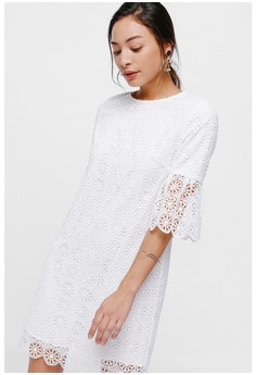 fd42780520d22c Love, Bonito white Nara Flare Sleeve Lace Dress 96AE2AA099C61FGS_1