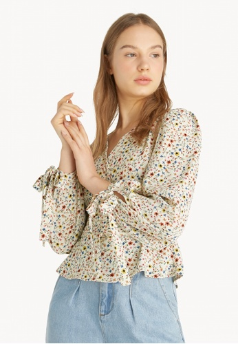 Pomelo multi Puffed Sleeves Floral Blouse - Cream 3431BAA2067C84GS_1