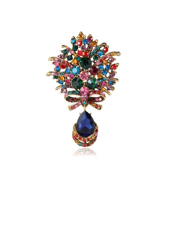 Glamorousky silver Fashion High-end Colorful Geometric Ribbon Water Drop-shaped Brooch with Cubic Zirconia 199FCACD8B28B7GS_1