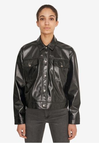 Noisy May black Crinkle Polyurethane Short Jacket CC306AADD39397GS_1