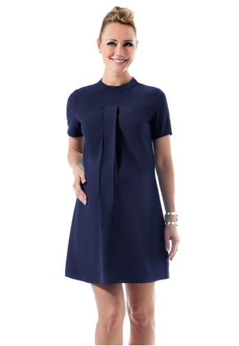 Bove by Spring Maternity blue Woven Short Sleeved Carla High Neck Dress Navy 26651AA70F19E1GS_1