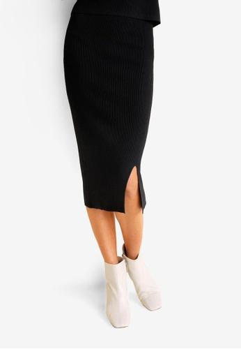Mango black Ribbed Midi Skirt 60E41AA3D9429FGS_1