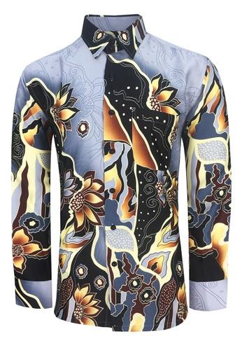 36923cde90a9 Pacolino grey Pacolino - Long Sleeve Grey Color Printed Batik Shirt -  BK5183 8CDAEAA79BC27DGS_1. CLICK TO ZOOM