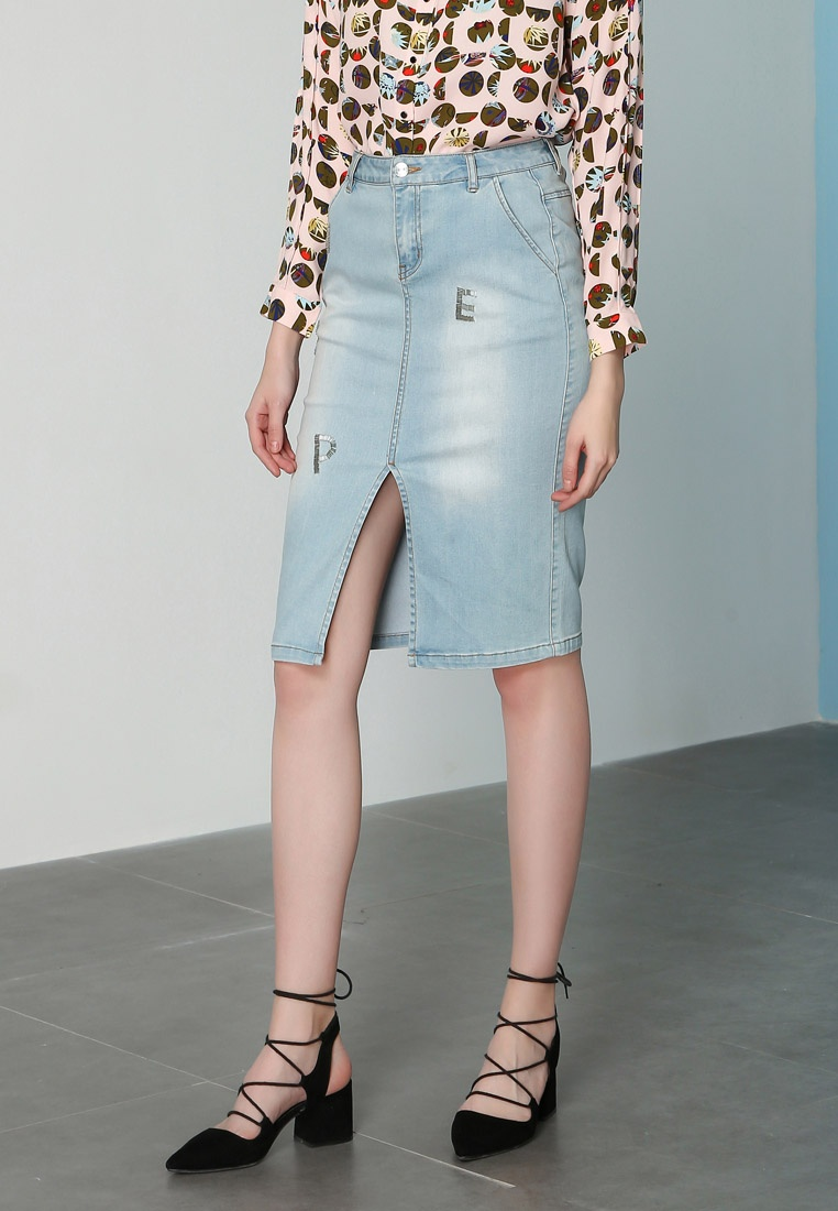Hopeshow Slits Long Front with Blue Skirt Denim Denim Light XgXnqprw