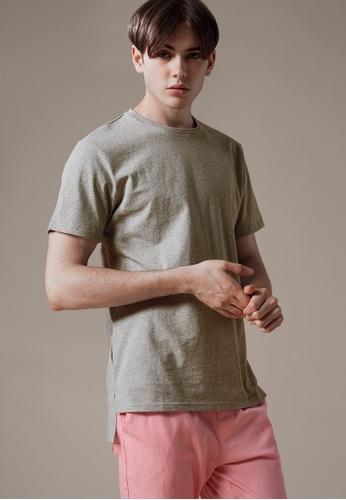 Life8 grey Casual Crew Neck T-Shirt With Asymmetric Hem-03896-Grey LI283AA0FNOYSG_1