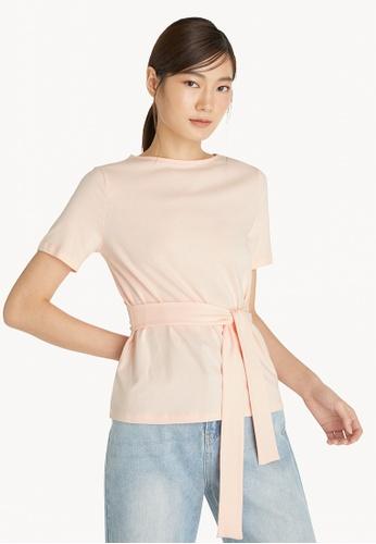 Pomelo pink Waist Tie Tee - Light Pink 0FF65AA6138CBCGS_1