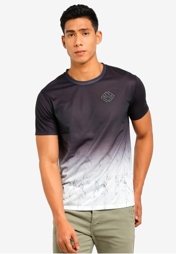 6aeed81a Burton Menswear London black Black And White Marble Fade T-Shirt With  Hibuild Chest Print