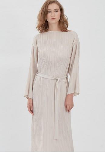 shopatvelvet white Posta Pleated Dress Chalk 65FFEAA06FC1F7GS_1