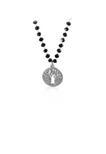 Glamorousky 銀色 時尚簡約幾何圓形鏤空生命之樹316L鋼吊墜配串珠項鏈 BAB99AC30EBF53GS_1