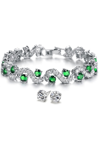 YOUNIQ green YOUNIQ Green Diamondate CZ Platinum Plated Silver Bracelet & Basic CZ White 925S Silver Earrings Special Set 50325AC6EA0C63GS_1