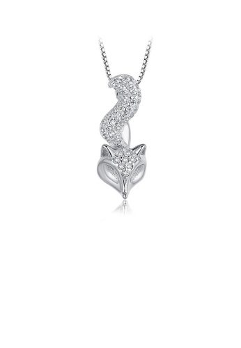 Glamorousky white 925 Sterling Silver Fox Pendant with Necklace 5204AAC01B8534GS_1