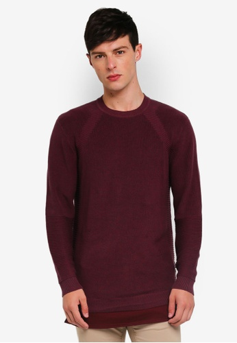 Only & Sons 紅色 長袖針織衫 89D09AAF0D0D96GS_1