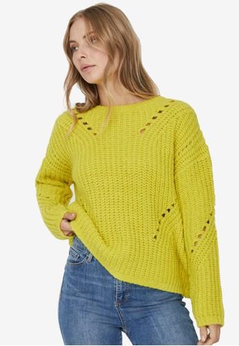 Vero Moda yellow Paca Pointelle Pullover 42246AAC5DC427GS_1