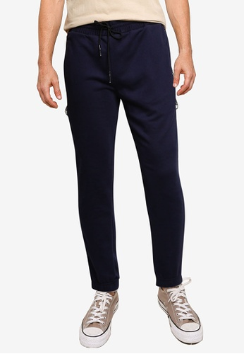 UniqTee navy Jogger With Side Tape Slogan 18ED9AA7C00787GS_1
