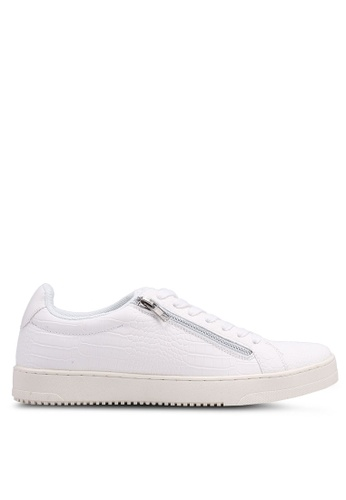 River Island white White Croc New Surrey Texture Zip Sneakers 77148SHEBC727AGS_1