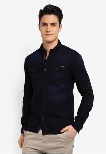 Superdry blue and navy Dragway Long Sleeve Denim Shirt 31DBEAA8DA0448GS_1