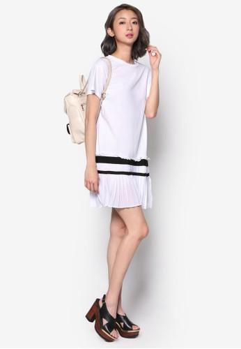 條紋esprit tote bag褶飾連身裙, 服飾, 洋裝